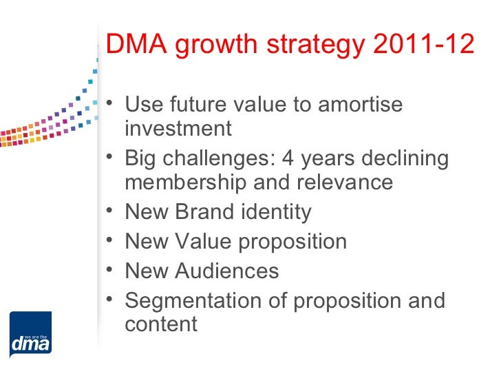 DMA growth strategy 2011-12• Use future value to amortise  investment• Big challenges: 4 years declining  membership and r...