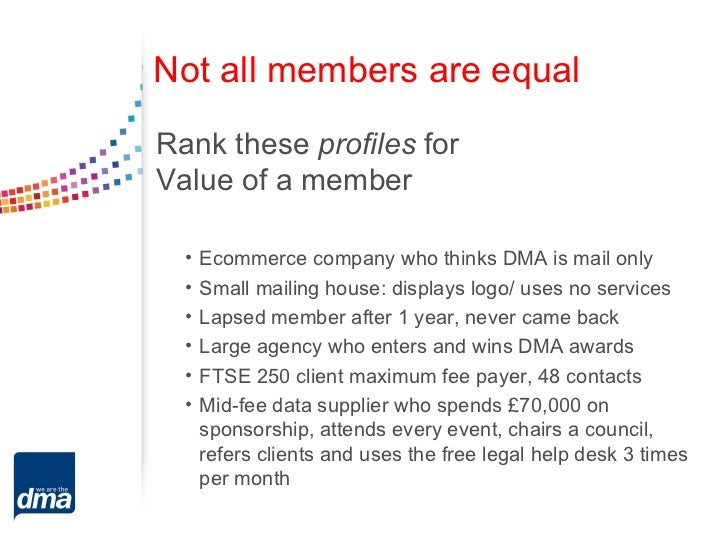 Not all members are equalRank these profiles forValue of a member  •   Ecommerce company who thinks DMA is mail only  •   ...
