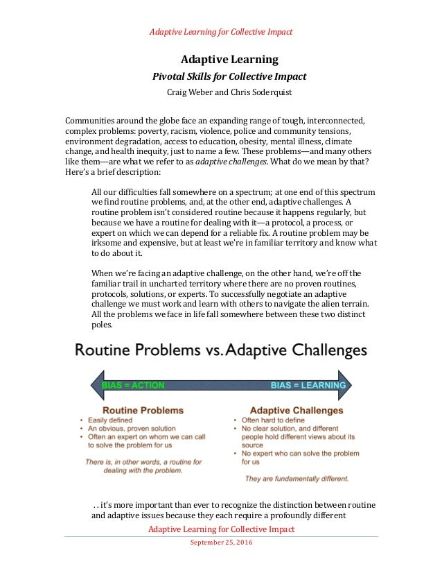 Adaptive	Learning	for	Collective	Impact	 	 Adaptive	Learning	for	Collective	Impact	 September	25,	2016	 Adaptive	Learning	...