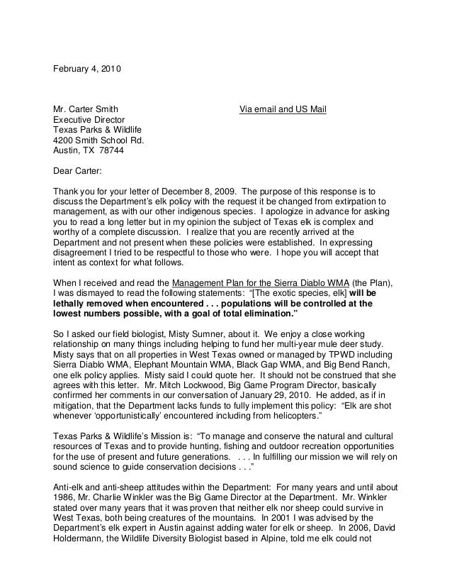 February 4, 2010Mr. Carter Smith                                  Via email and US MailExecutive DirectorTexas Parks & Wil...