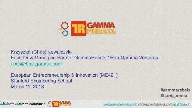 Krzysztof (Chris) KowalczykFounder & Managing Partner GammaRebels / HardGamma Ventureschris@hardgamma.comEuropean Entrepre...