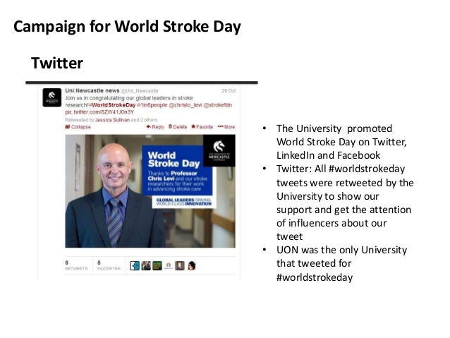 Campaign for World Stroke Day Twitter  • The University promoted World Stroke Day on Twitter, LinkedIn and Facebook • Twit...