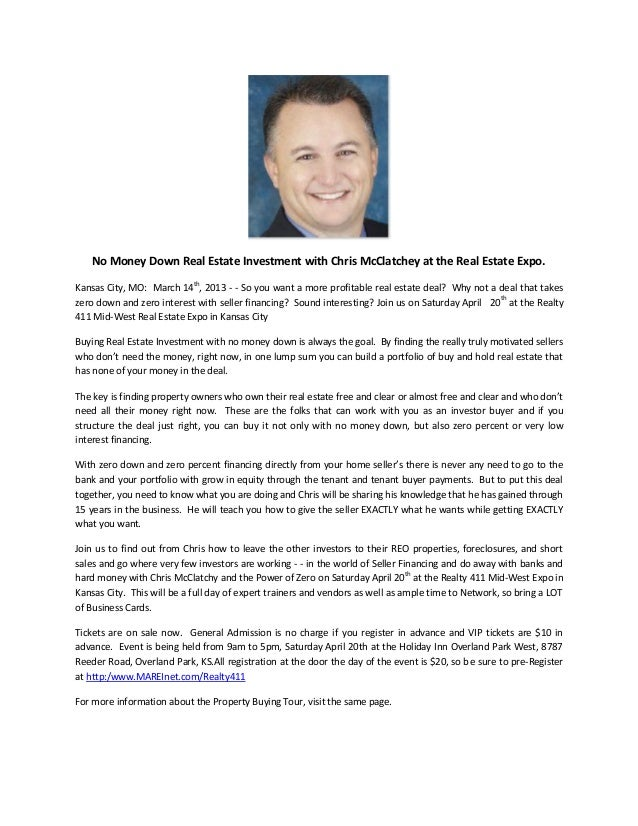 No Money Down Real Estate Investment with Chris McClatchey at the Real Estate Expo.                            thKansas Ci...