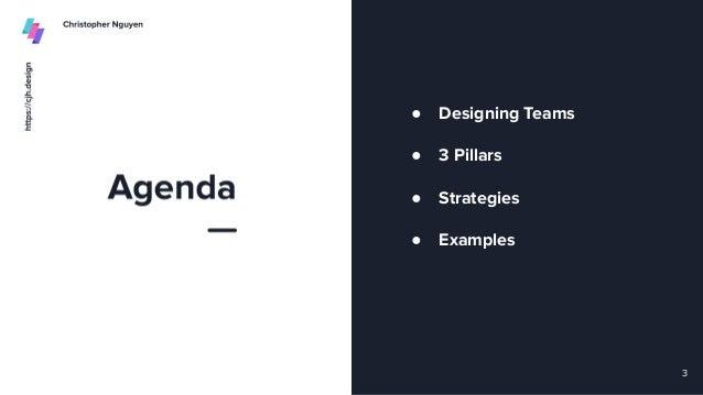 ● Designing Teams ● 3 Pillars ● Strategies ● Examples 3