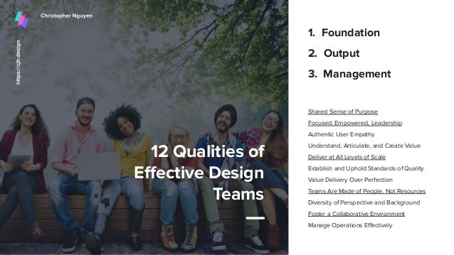 12 Qualities of Effective Design Teams Shared Sense of Purpose Focused, Empowered, Leadership Authentic User Empathy Unders...