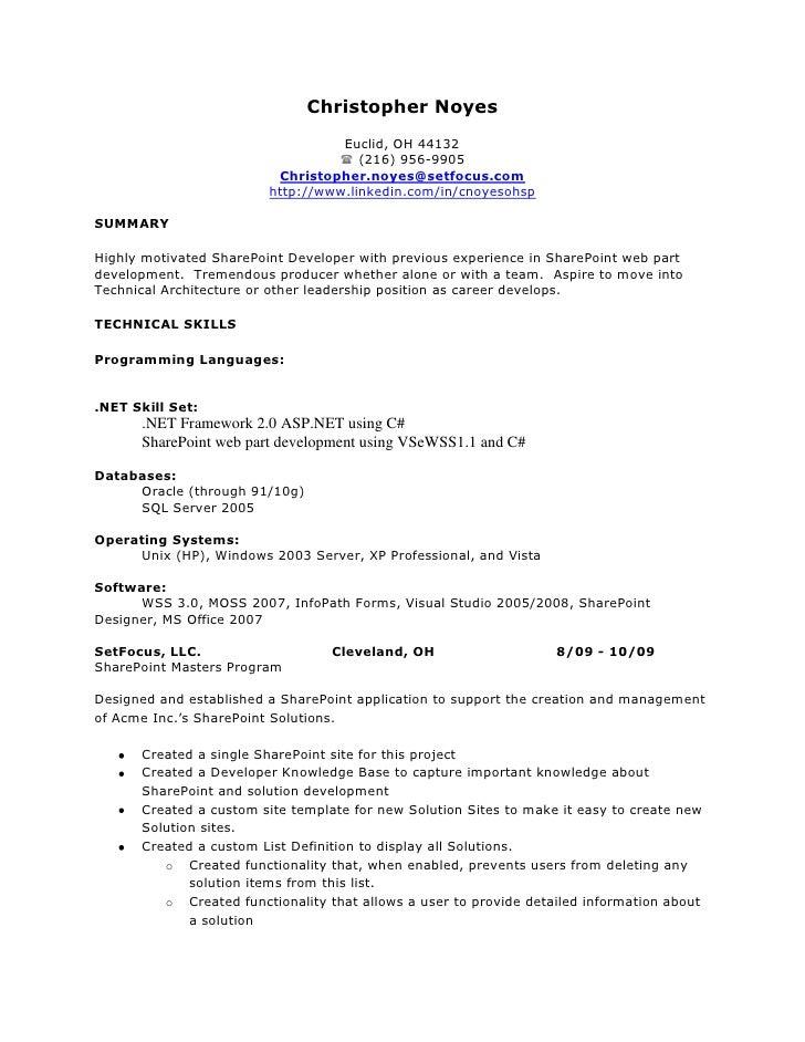 sample sharepoint developer cover letter - Rama.ciceros.co
