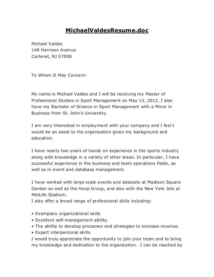 MichaelValdesResume.docMichael Valdes148 Harrison AvenueCarteret, NJ 07008To Whom It May Concern:My name is Michael Valdes...