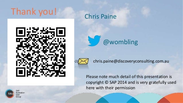 Thank you! ?Questions Chris Paine @wombling chris.paine@discoveryconsulting.com.au Please note much detail of this present...