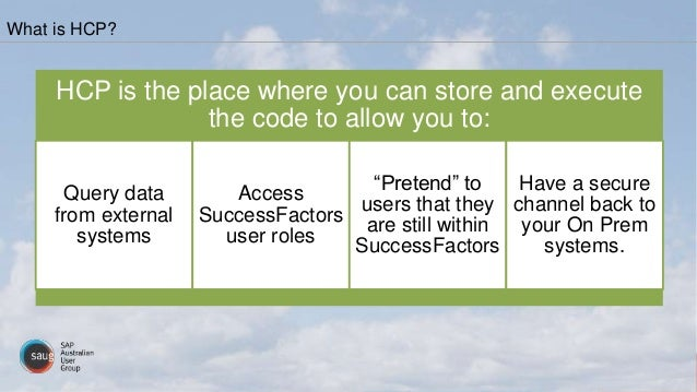 HCP is the place where you can store and execute the code to allow you to: Query data from external systems Access Success...