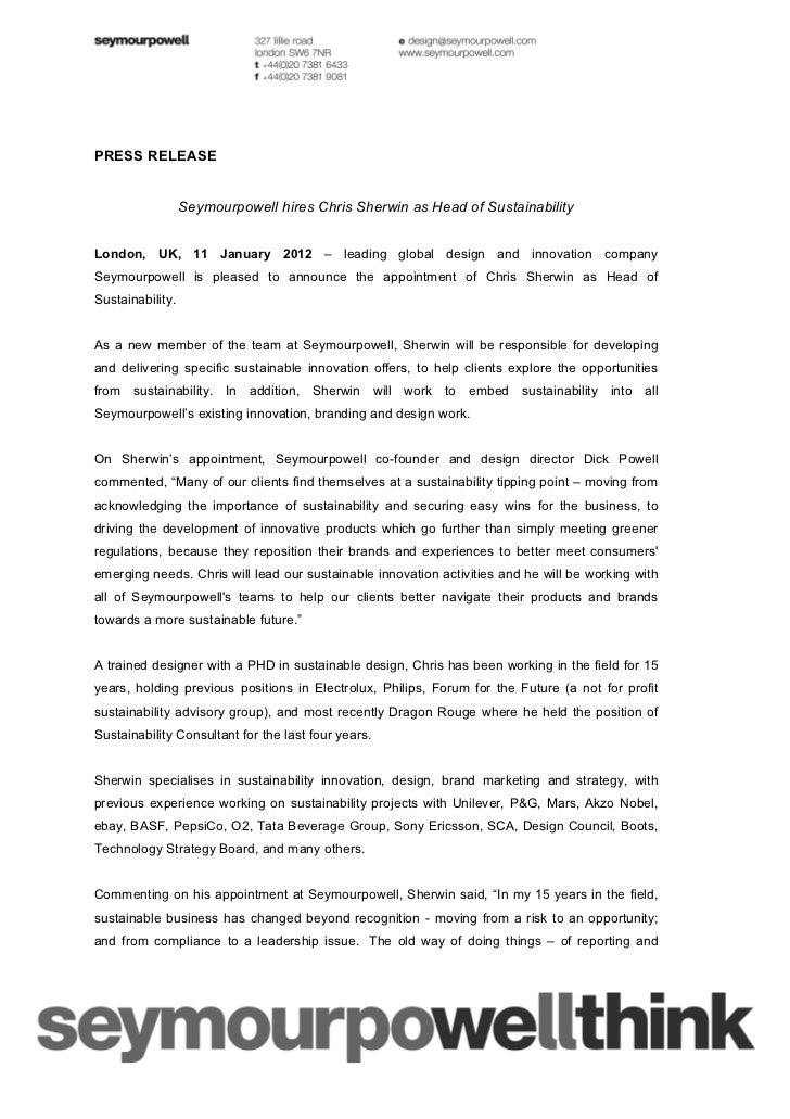 PRESS RELEASE                  Seymourpowell hires Chris Sherwin as Head of SustainabilityLondon, UK, 11 January 2012 – le...