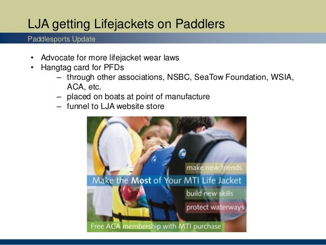 LJA getting Lifejackets on Paddlers Paddlesports Update • Advocate for more lifejacket wear laws • Hangtag card for PFDs –...