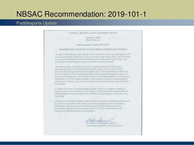 NBSAC Recommendation: 2019-101-1 Paddlesports Update