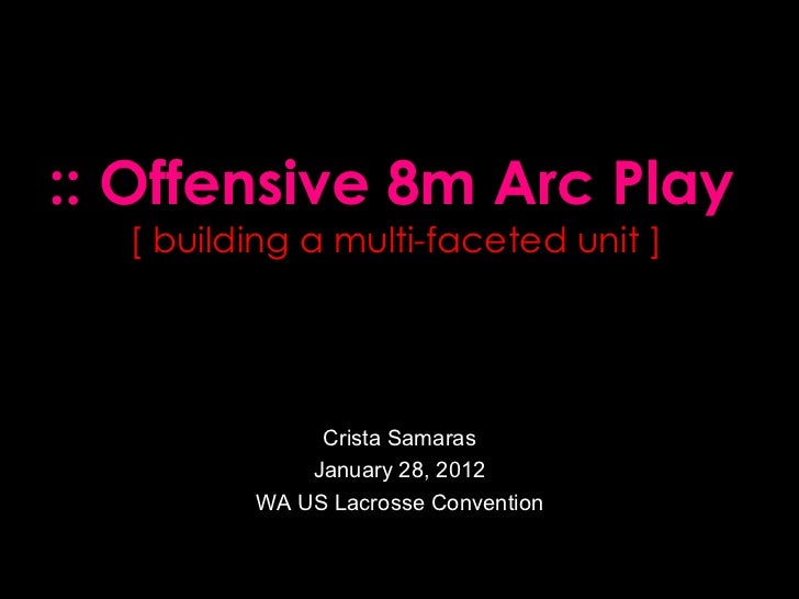 Crista Samaras January 28, 2012 WA US Lacrosse Convention :: Offensive 8m Arc Play [ building a multi-faceted unit ]