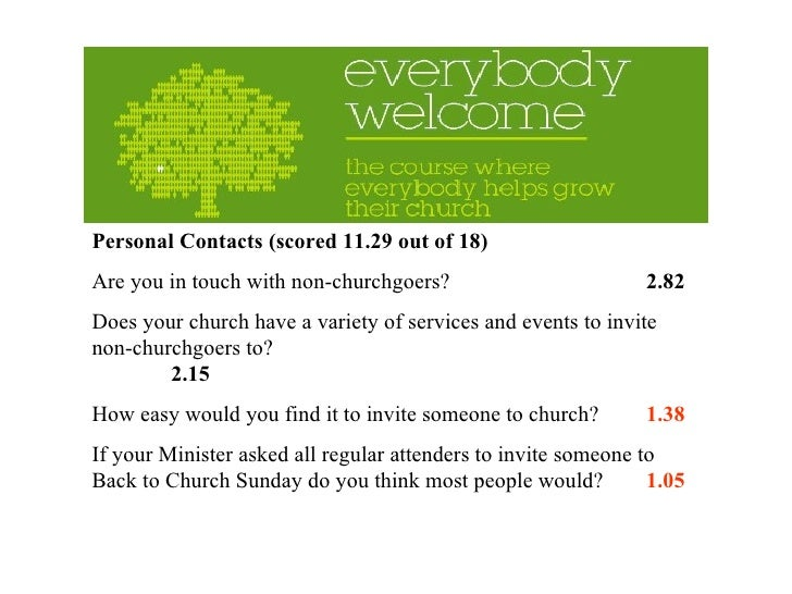 Personal Contacts (scored 11.29 out of 18) Are you in touch with non-churchgoers? 2.82 Does your church have a variety of ...