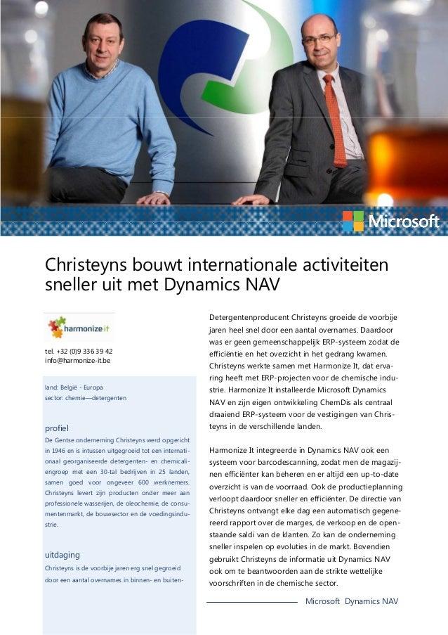 Christeyns bouwt internationale activiteiten sneller uit met Dynamics NAV Detergentenproducent Christeyns groeide de voorb...