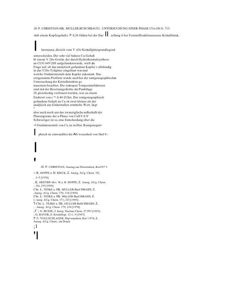 I   H.·P. CHRISTIAN-HK. MULLER.BUSCHBAUlI . UNTERSUCHUNG EINER PHASE CUo.6N.O. 715  I   mit einem Kupfergehalt x > 0,26 bi...