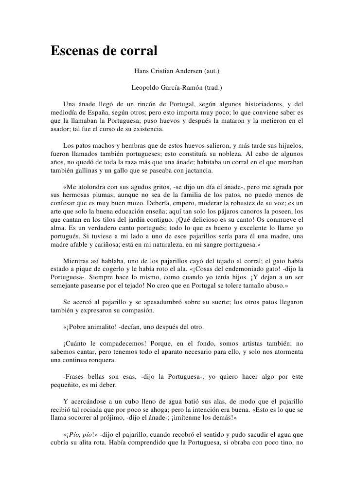Escenas de corral<br />Hans Cristian Andersen (aut.)<br />Leopoldo García-Ramón (trad.)<br />Una ánade llegó de un rincón ...