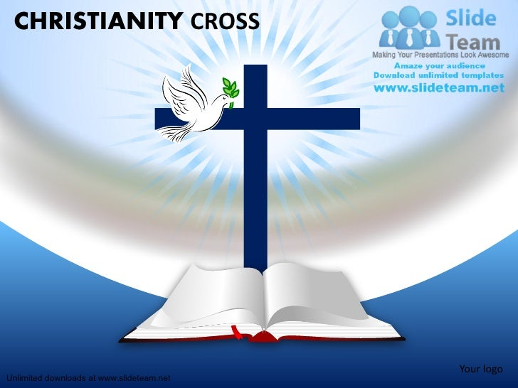 christian christanoty cross with dove bible power point slides and pp