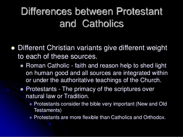the difference between catholic and protestant churches essay Some differences are trivial, but some differences deal with the foundational  issues  an example of change in the catholic church is, the fact that today, the  catholic church does  here is a summary of what the bible says about her.