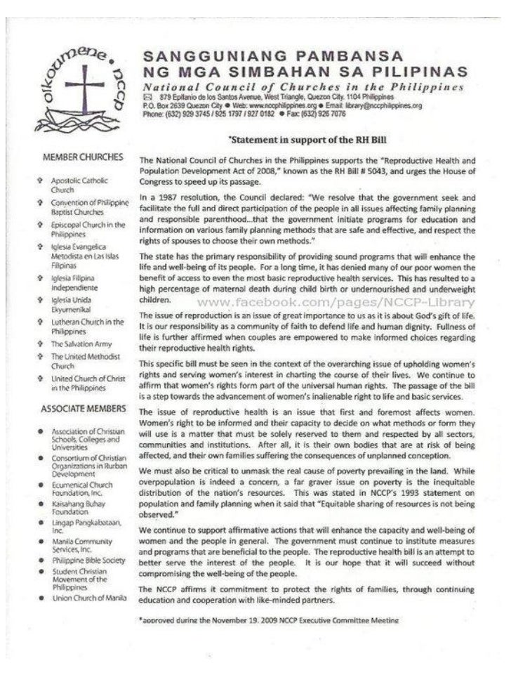 Christian Groups' Position Papers on the RH Bill