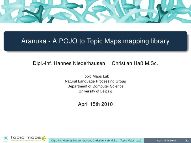Aranuka - A POJO to Topic Maps mapping library      Dipl.-Inf. Hannes Niederhausen                      Christian Haß M.Sc...
