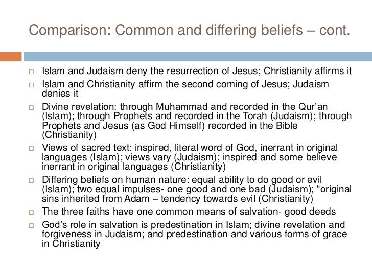 the similarities and differences between the religions of judaism islam buddhism and christianity Comparison of islam, judaism and christianity 272k 5392 540 1013 google +181 similarities and differences christianity, islam, and judaism are three of the most influential world religions in history.