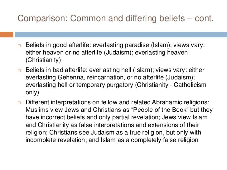 differences between christianity and islam and judaism