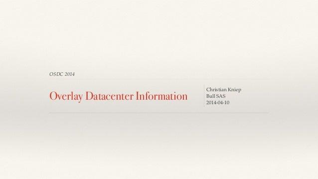 OSDC 2014 Overlay Datacenter Information Christian Kniep Bull SAS! 2014-04-10