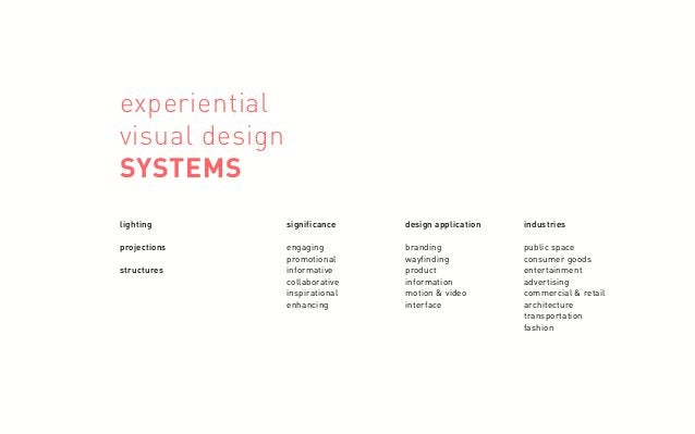 experiential visual design SYSTEMS lighting projections structures significance engaging promotional informative collabora...