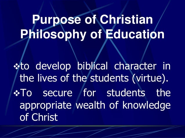 philosophy of christian education paper