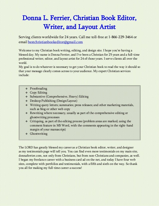 Christian query letter writing christian query letter writing donna l ferrier christian book editor writer and layout artist serving clients altavistaventures Image collections