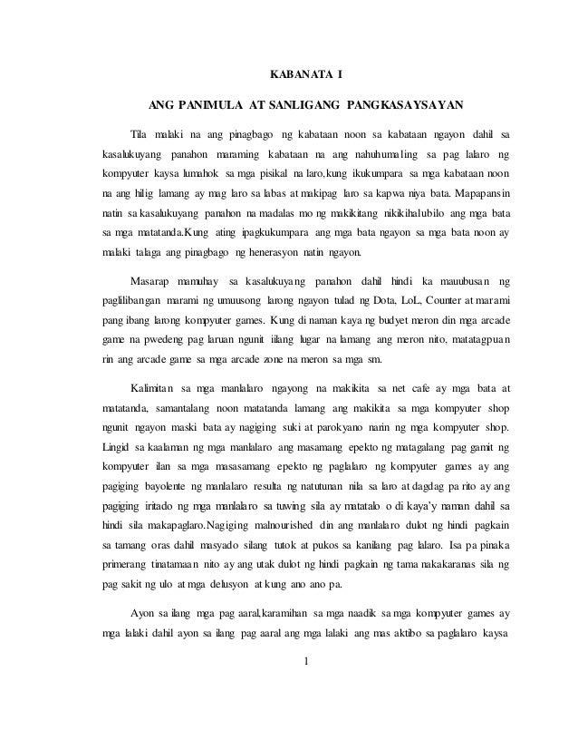Kabataan noon at ngayon thesis examples