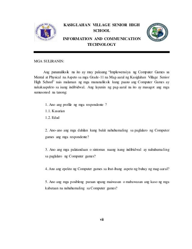 epekto ng computer games sa mga mag aaral thesis