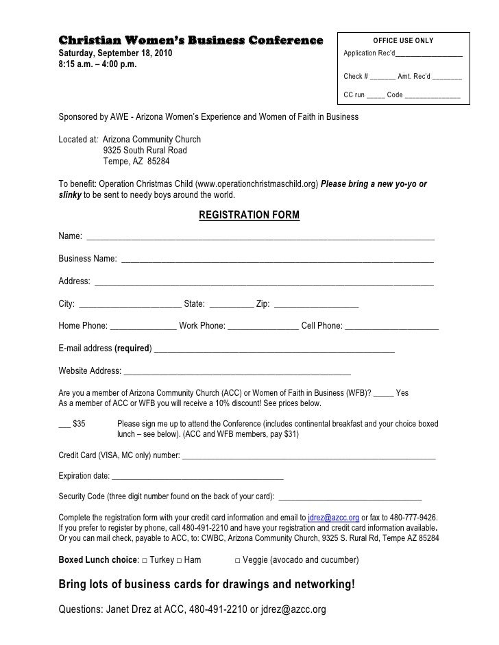 Christian womens business conference registration form for Sample workshop registration form template
