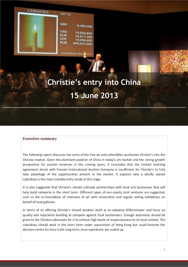 FRONTERE Noémie Consulting Report 15/06/2013 1 Executive summary The following report discusses the entry of the fine art ...