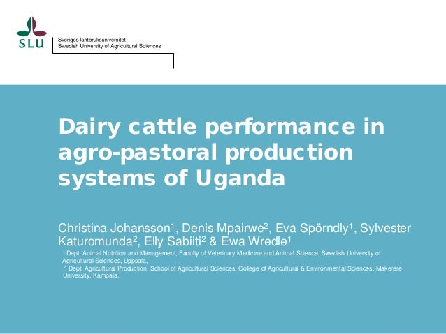 Dairy cattle performance in agro-pastoral production systems of Uganda Christina Johansson1, Denis Mpairwe2, Eva Spörndly1...