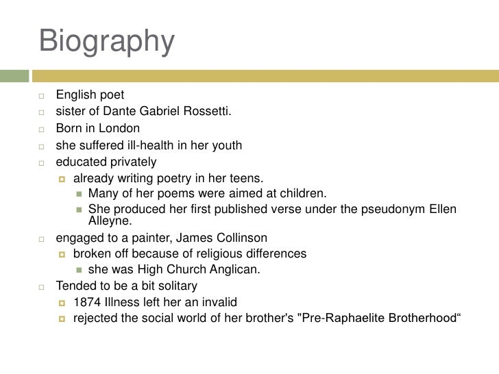 "christina rossetti 4 essay Applying a modern perspective to christina rossetti's ""goblin market  in her essay, ""the straight mind  when you sign up for medium."