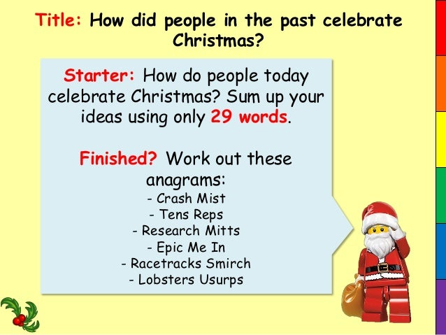 Title: How did people in the past celebrate Christmas?  Starter: How do people today celebrate Christmas? Sum up your idea...