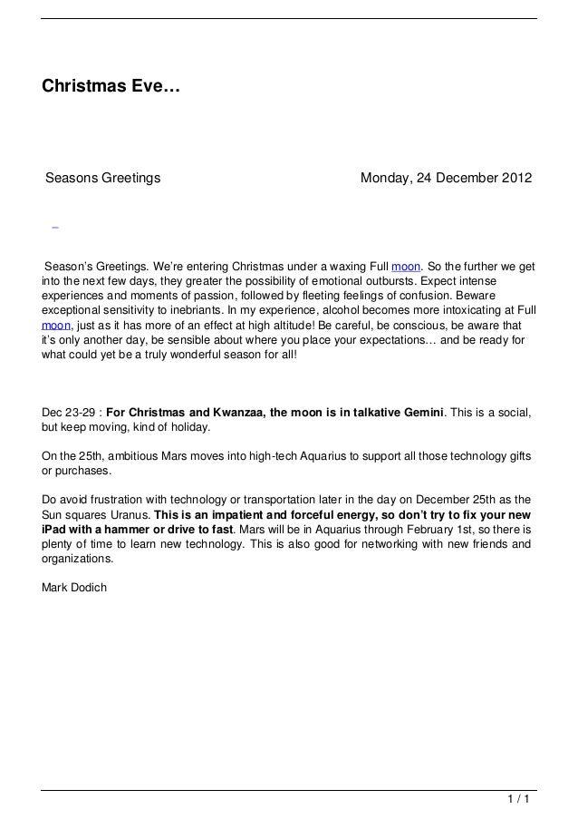 Christmas Eve…                                   Seasons Greetings                                              Monday, 24...