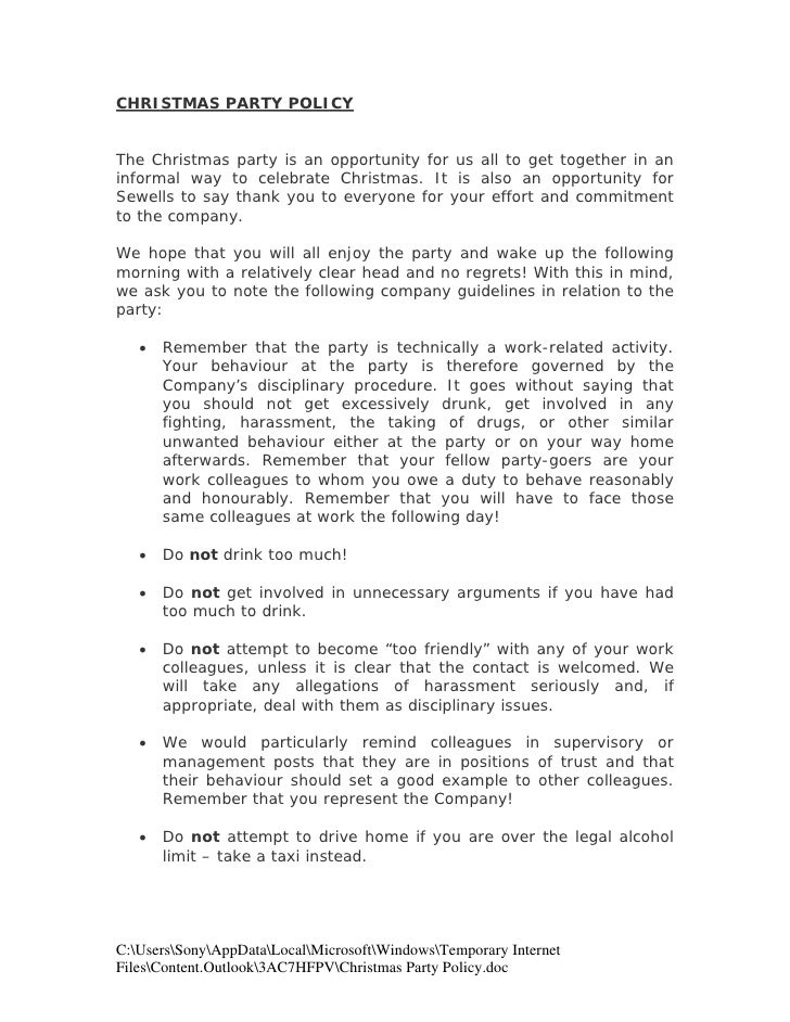 christmas party policy the christmas party is an opportunity for us all to get together in
