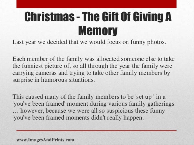 Christmas - The Gift Of Giving A Memory