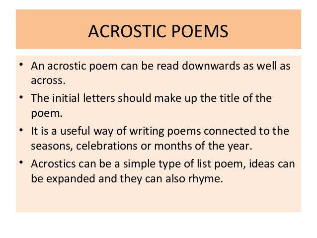 acrostic poems An acrostic by edgar allan poe elizabeth it is in vain you say love not thou sayest it in so sweet a way in vain those words from thee or l e l zantippes talents had enforced so.