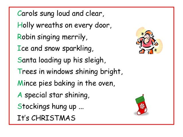 Christmas acrostic poetry