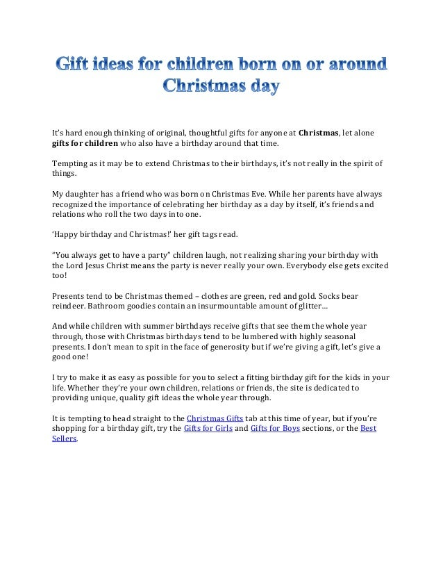 Christmas Birthday Ideas For Kids