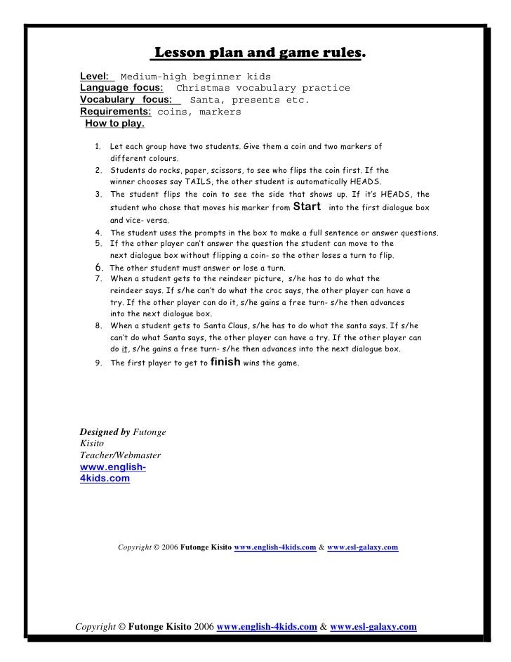 Lesson plan and game rules.  Level: Medium-high beginner kids  Language focus: Christmas vocabulary practice  Vocabulary f...