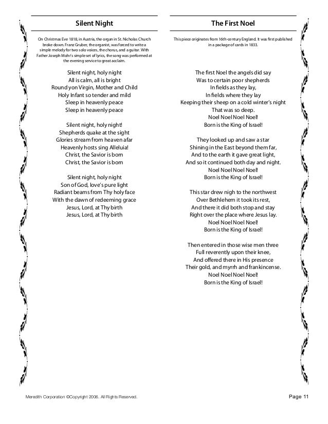 page 10 11 silent night on christmas - Christmas Songs For Church