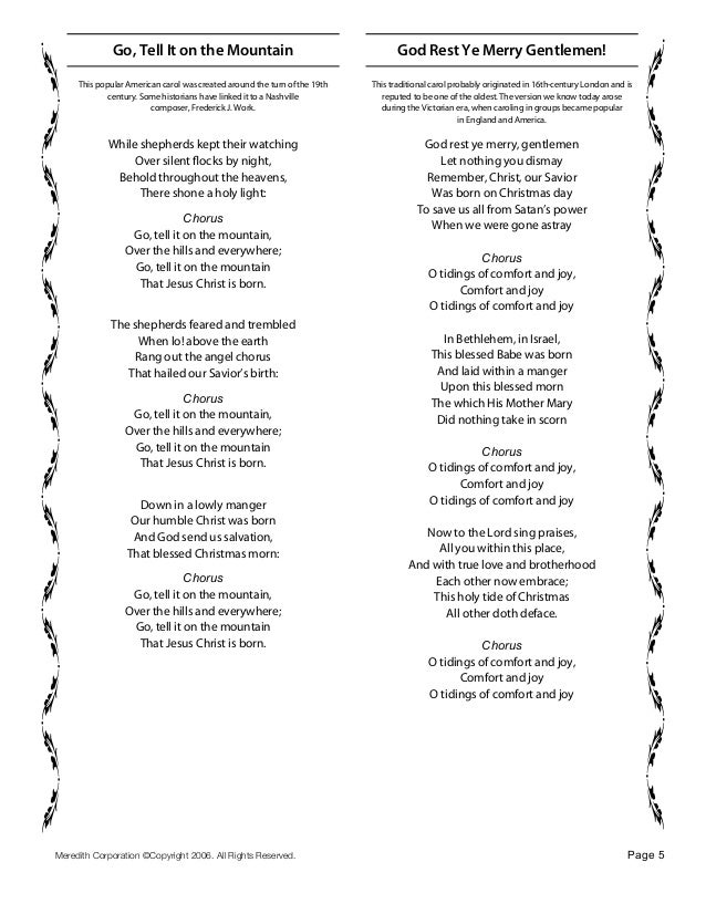 Lyric go tell it on the mountain hymn lyrics : Christmas carols