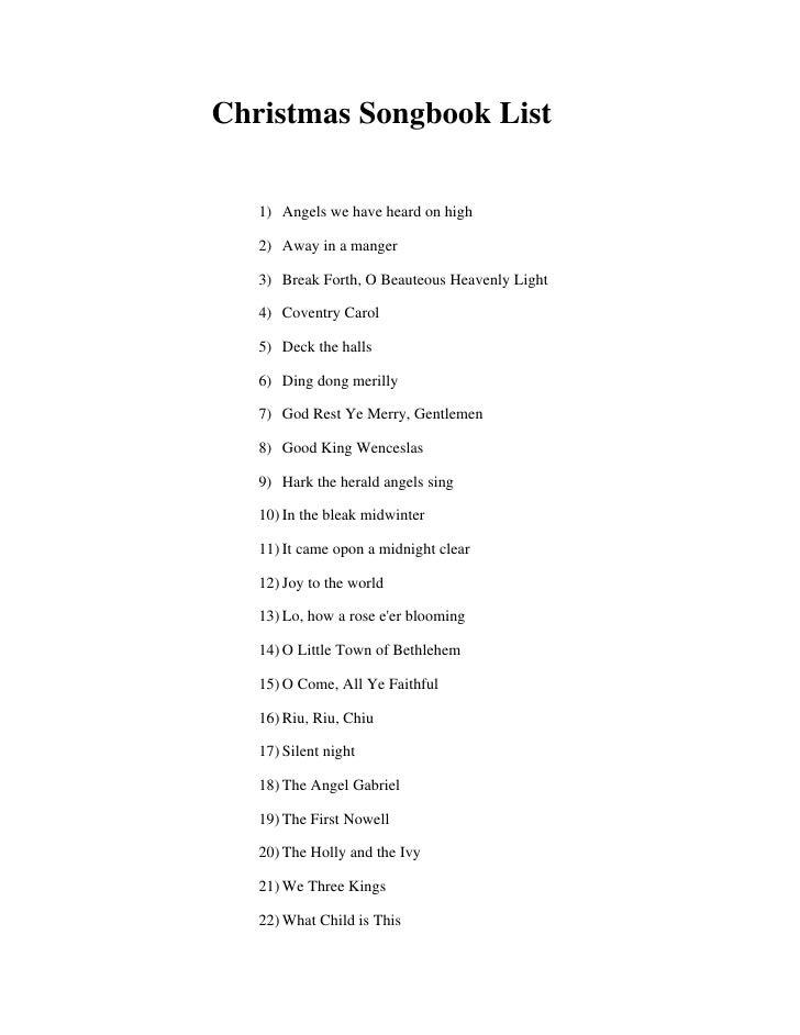christmas carols list