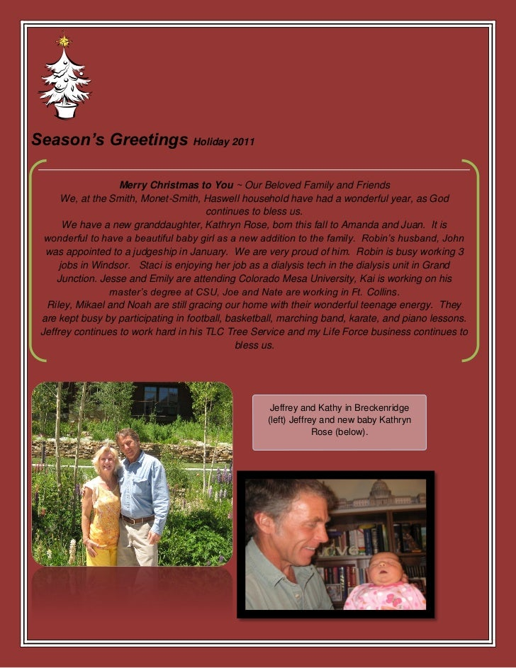 Season's Greetings Holiday 2011                   Merry Christmas to You ~ Our Beloved Family and Friends       We, at the...