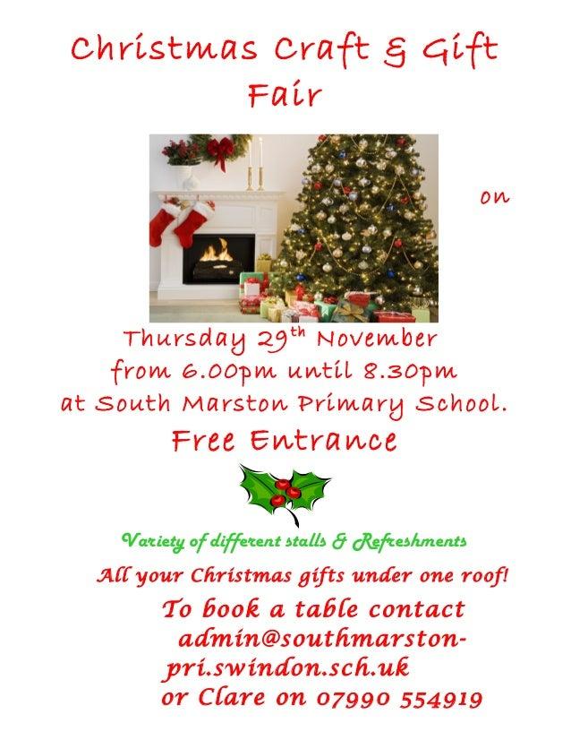 Christmas Craft & Gift        Fair                                                 on     Thursday 29 th November    from ...